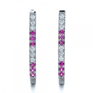 Custom Diamond and Pink Sapphire Earrings