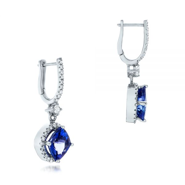 14k White Gold Custom Diamond And Tanzanite Earrings - Front View -
