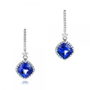 Custom Diamond and Tanzanite Earrings