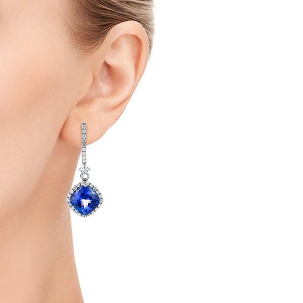 Custom Diamond and Tanzanite Earrings - Model View