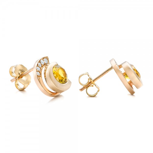Custom Diamond and Golden Tourmaline Earrings - Laying View
