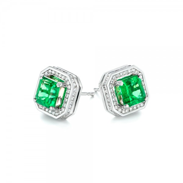 a2517619db644 Custom Emerald and Diamond Stud Earrings