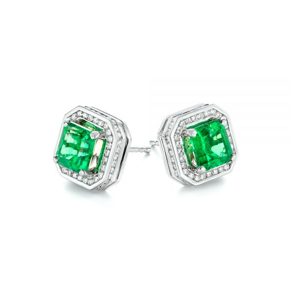 18k White Gold Custom Emerald And Diamond Stud Earrings - Front View -  103389