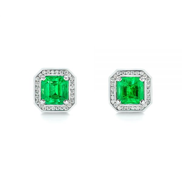 Custom Emerald and Diamond Stud Earrings - Image
