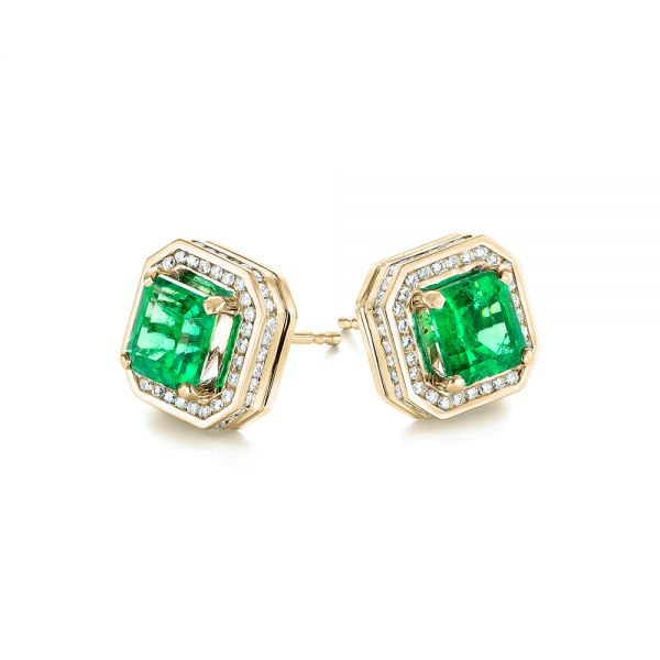 14k Yellow Gold 14k Yellow Gold Custom Emerald And Diamond Stud Earrings - Front View -  103389