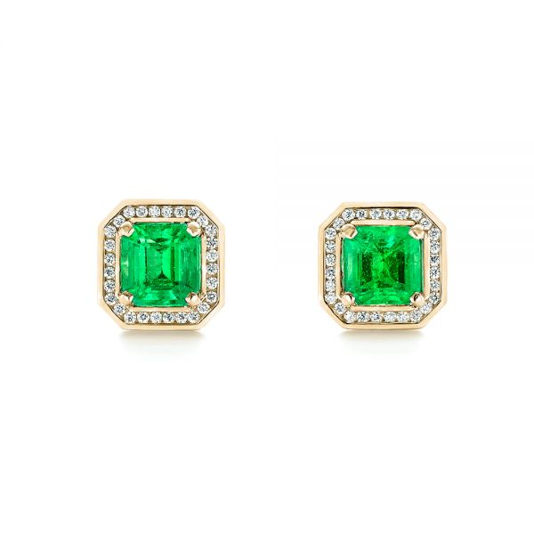 14k Yellow Gold 14k Yellow Gold Custom Emerald And Diamond Stud Earrings - Three-Quarter View -  103389