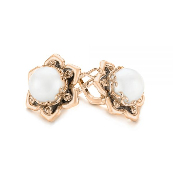 18k Rose Gold 18k Rose Gold Custom Floral Pearl Earrings - Front View -