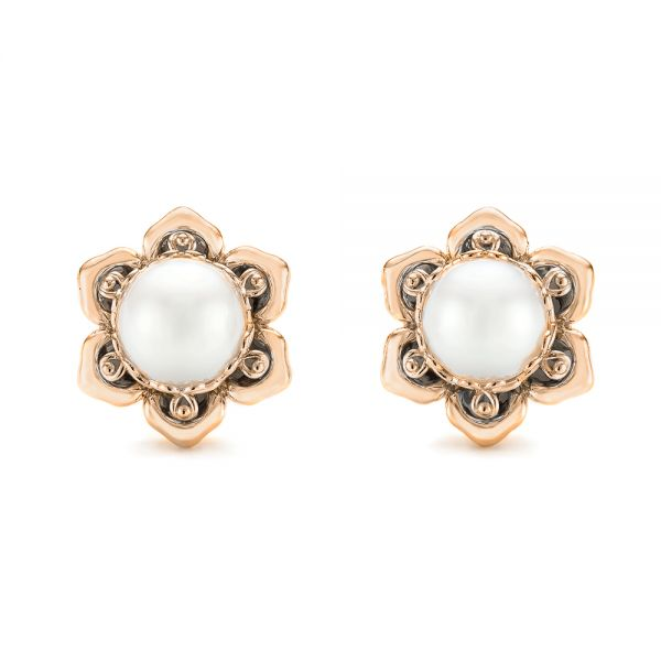 18k Rose Gold 18k Rose Gold Custom Floral Pearl Earrings - Three-Quarter View -
