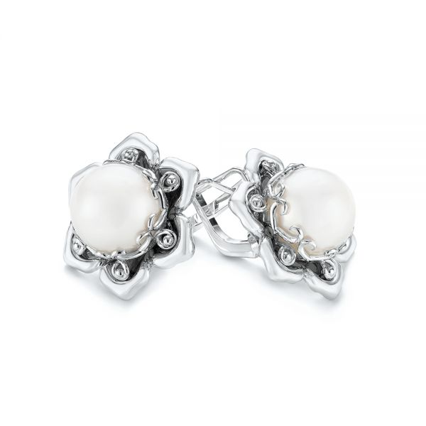14k White Gold Custom Floral Pearl Earrings - Front View -