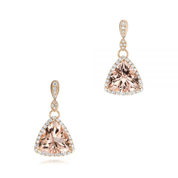 Custom Morganite and Diamond Halo Earrings - Image