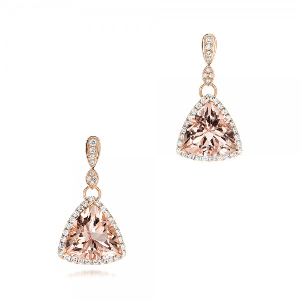 Custom Morganite and Diamond Halo Earrings