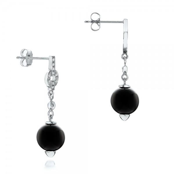 Custom Onyx and Diamond Dangle Earrings - Laying View
