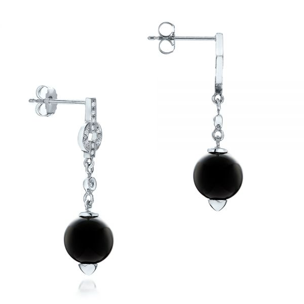 14k White Gold Custom Onyx And Diamond Dangle Earrings - Front View -