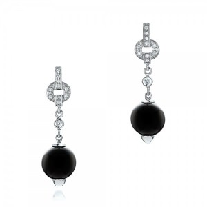 Custom Onyx and Diamond Dangle Earrings