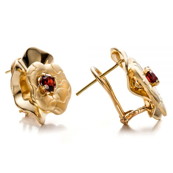 14K Gold Custom Organic Red Garnet Earrings - Front View -