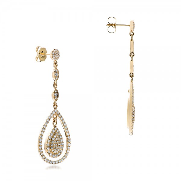 Custom Pave Diamond Dangle Earrings - Flat View -  101236 - Thumbnail