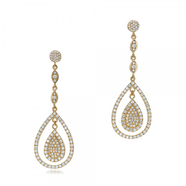 Custom Pave Diamond Dangle Earrings