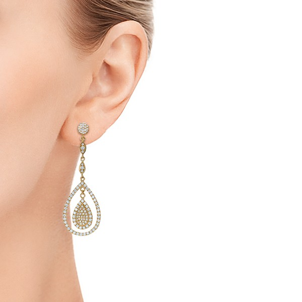 Custom Pave Diamond Dangle Earrings - Hand View -  101236 - Thumbnail