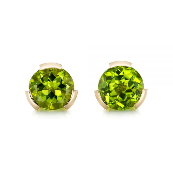Custom Peridot Yellow Gold Earrings