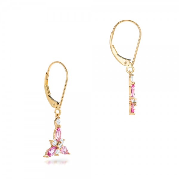 Custom Pink Sapphire and Diamond Flower Earrings - Flat View -  102733 - Thumbnail