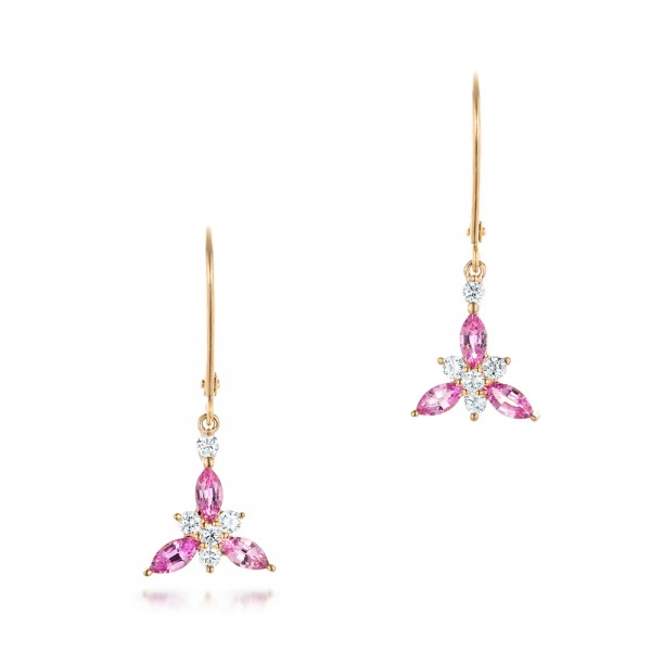 Custom Pink Sapphire and Diamond Flower Earrings - Three-Quarter View -  102733 - Thumbnail