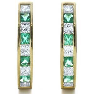 Custom Princess Cut Diamond and Emerald Earrings