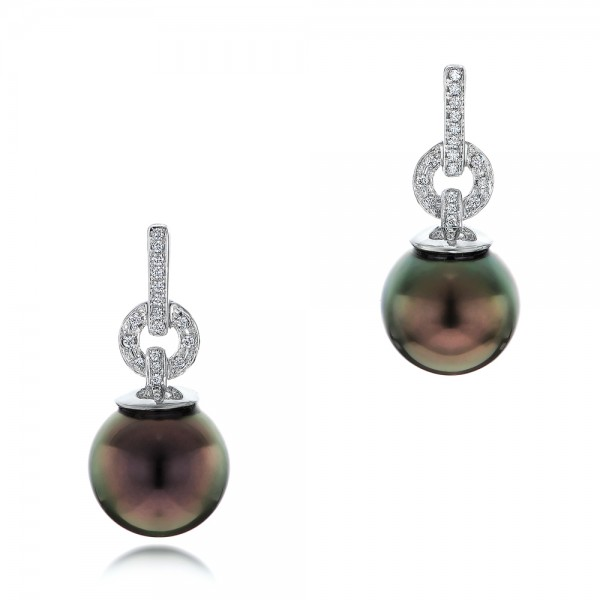 Custom Tahitian Pearl and Diamond Earrings
