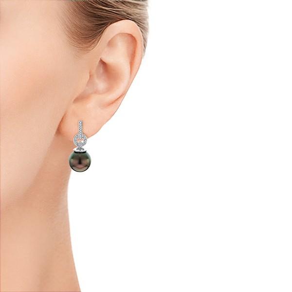 Custom Tahitian Pearl and Diamond Earrings - Model View