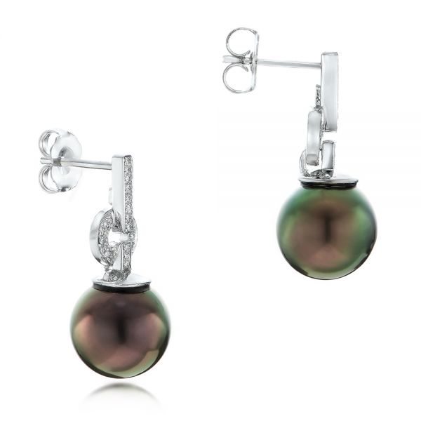 14k White Gold Custom Tahitian Pearl And Diamond Earrings - Front View -  102083