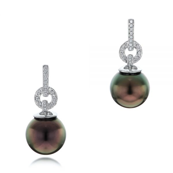 14k White Gold Custom Tahitian Pearl And Diamond Earrings - Three-Quarter View -  102083