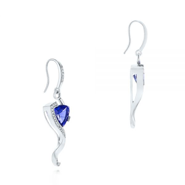 Custom Tanzanite and Diamond Earrings - Front View -  104182 - Thumbnail