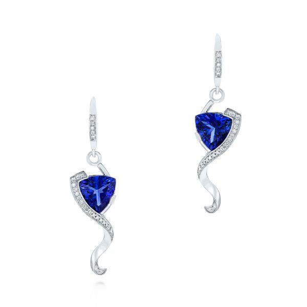 Custom Tanzanite and Diamond Earrings - Three-Quarter View -  104182 - Thumbnail