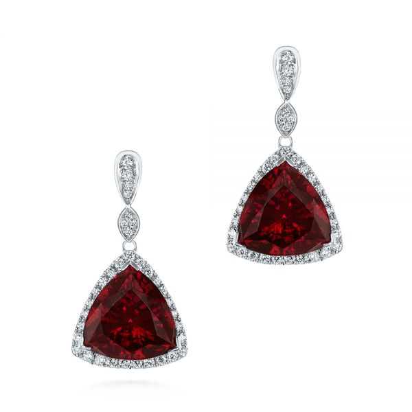 Custom Trillion Ruby and Diamond Halo Earrings - Image