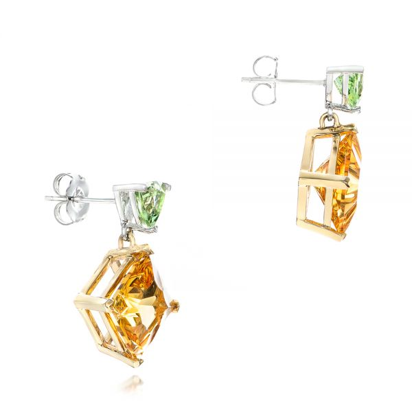 14k Yellow Gold And 14K Gold Custom Two-tone Citrine And Garnet Earrings - Front View -