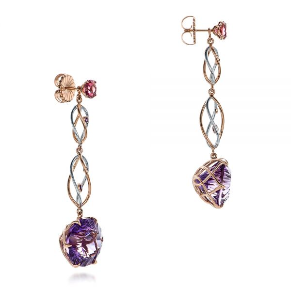 14k Rose Gold And 14K Gold Custom Two-tone Amethyst Drop Earrings - Front View -