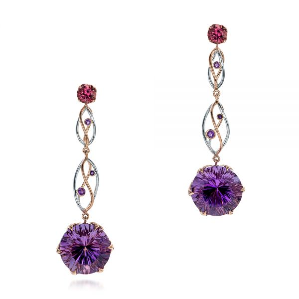 14k Rose Gold And 14K Gold Custom Two-tone Amethyst Drop Earrings - Three-Quarter View -