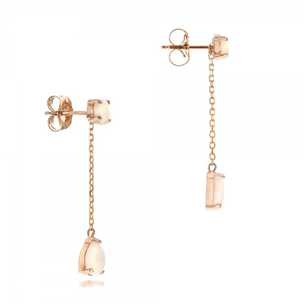 Custom White Opal and Rose Gold Earrings - Flat View -  101727 - Thumbnail