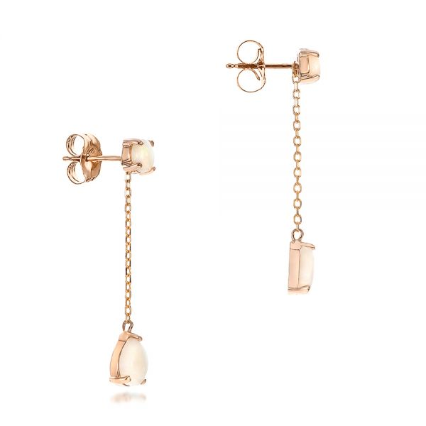 Custom White Opal and Rose Gold Earrings - Front View -  101727 - Thumbnail