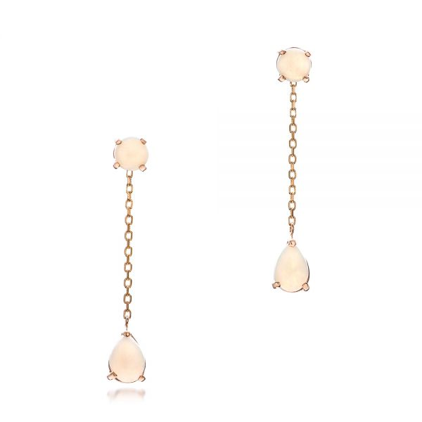 Custom White Opal and Rose Gold Earrings