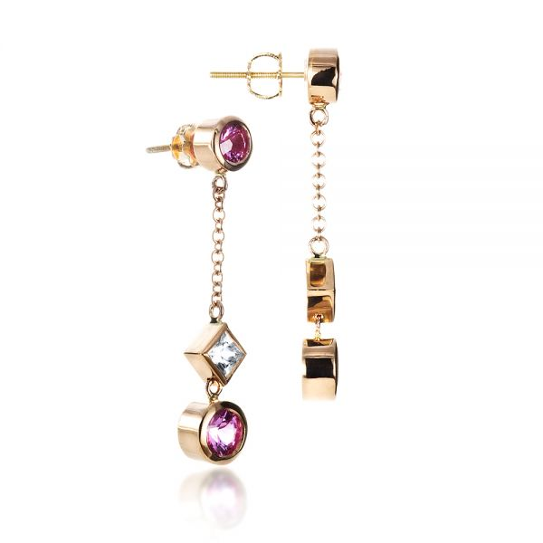 18k Rose Gold Custom White And Pink Sapphire Earrings - Front View -  1310