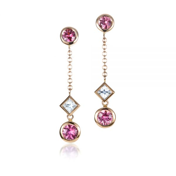 18k Rose Gold Custom White And Pink Sapphire Earrings - Three-Quarter View -  1310