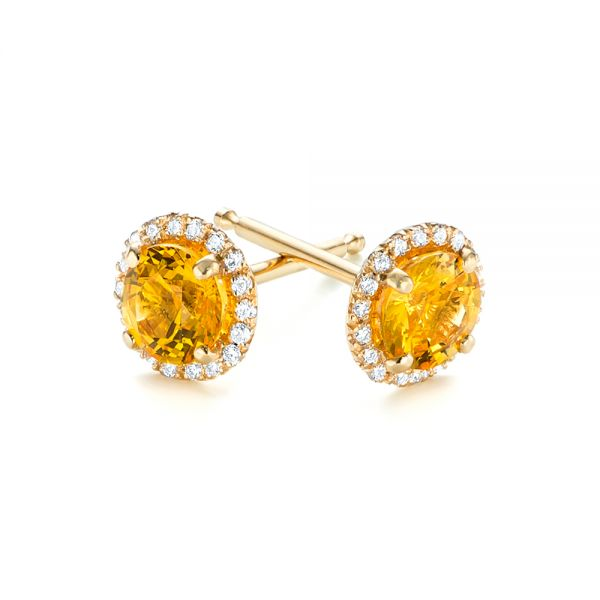14k Yellow Gold Custom Yellow Sapphire And Diamond Stud Earrings - Front View -