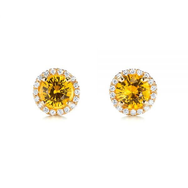 Custom Yellow Sapphire and Diamond Stud Earrings