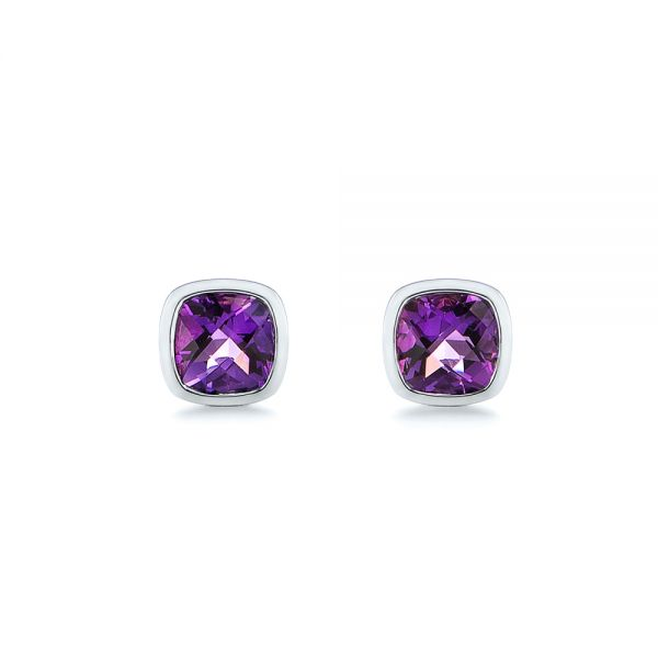 Delicate Amethyst Stud Earrings - Image