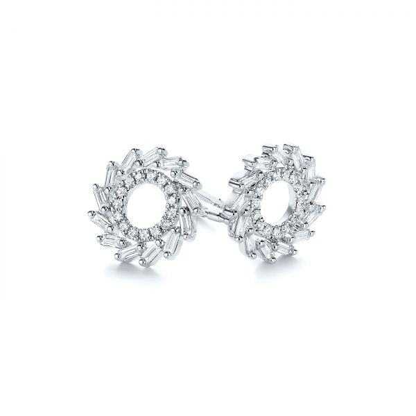 14k White Gold Diamond Baguette Circle Stud Earrings - Front View -  105949