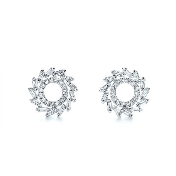 Diamond Baguette Circle Stud Earrings - Image