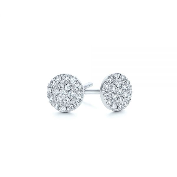 14k White Gold Diamond Cluster Earrings - Front View -