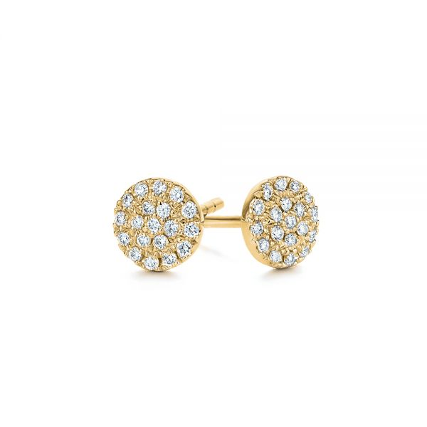 18k Yellow Gold 18k Yellow Gold Diamond Cluster Earrings - Front View -  105328