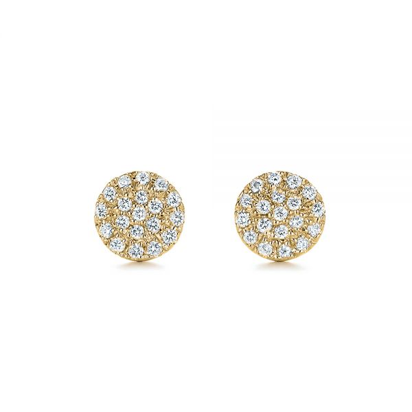 18k Yellow Gold 18k Yellow Gold Diamond Cluster Earrings - Three-Quarter View -  105328