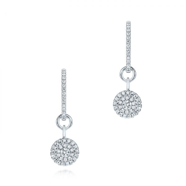 Diamond Dangling Huggie Earrings - Image